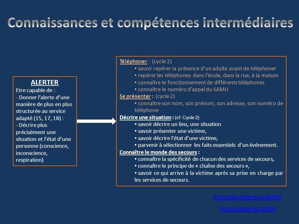 Connaissances et compétences intermédiaires Protocole d'alerte au SAMU