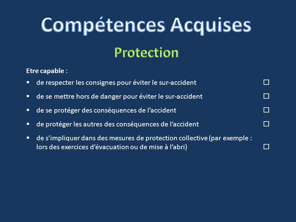 Compétences Acquises Protection Etre capable :