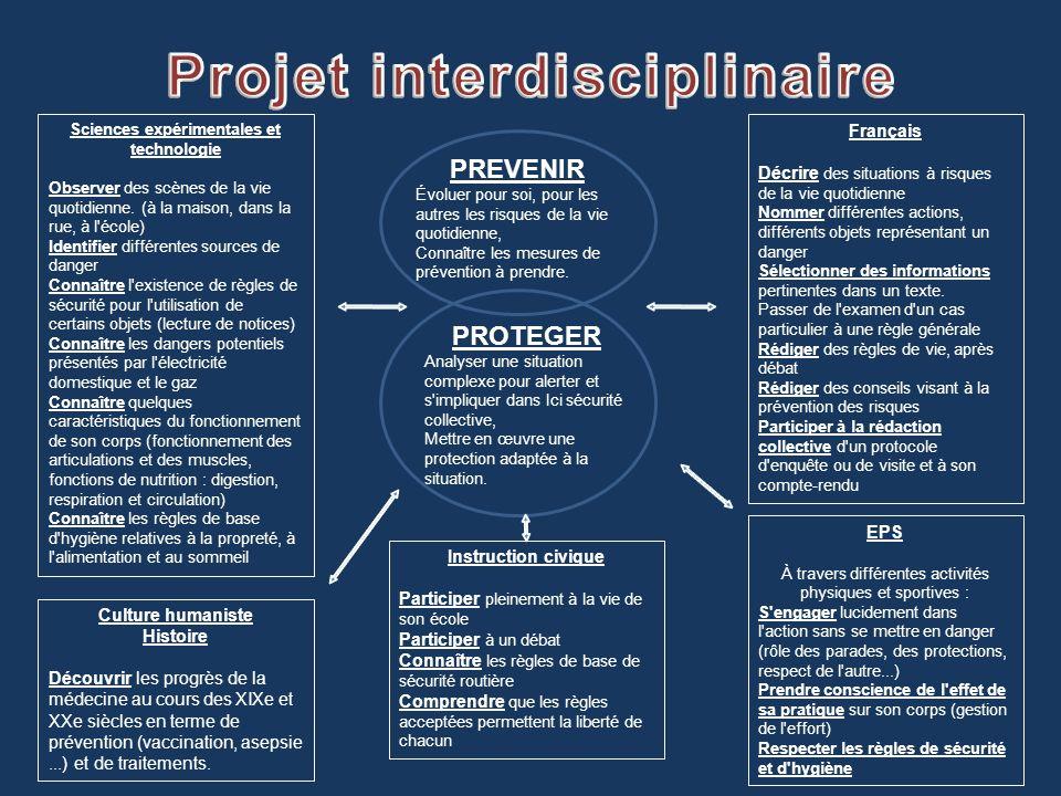 Projet interdisciplinaire Sciences expérimentales et technologie