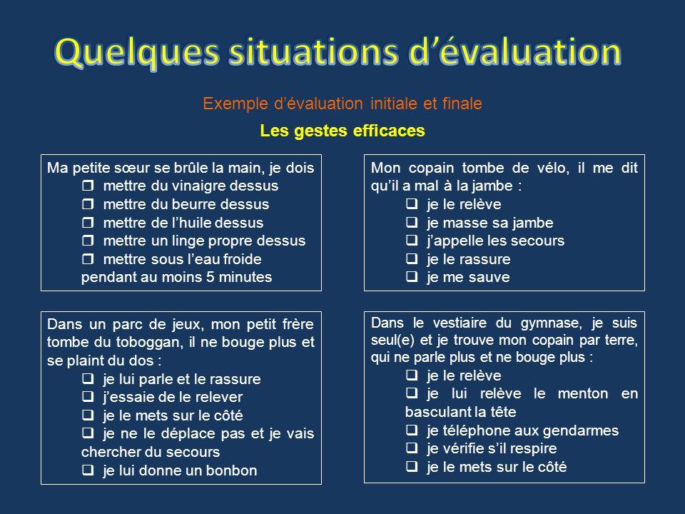 Quelques situations d'évaluation