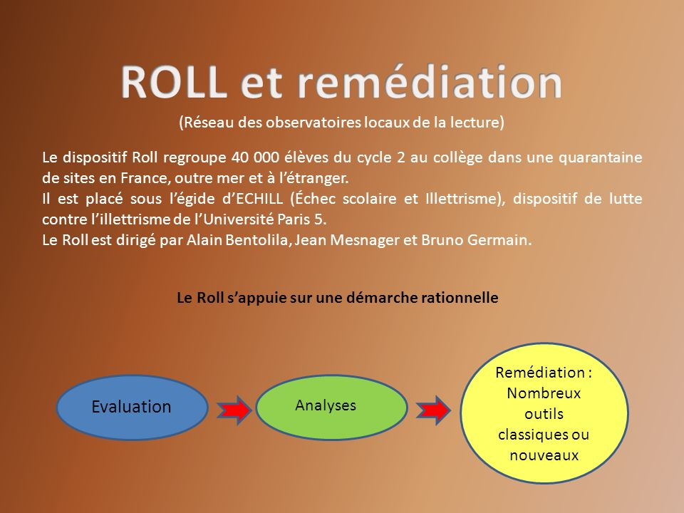 ROLL et remédiation Evaluation