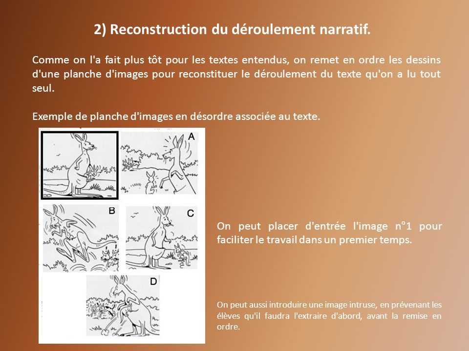 2) Reconstruction du déroulement narratif.