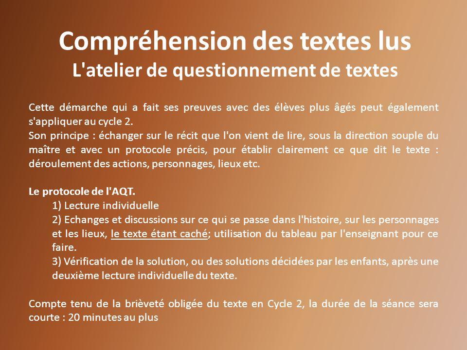 Compréhension des textes lus L atelier de questionnement de textes
