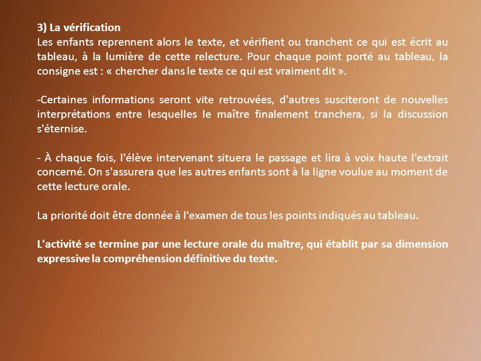 3) La vérification