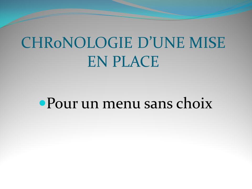 CHR0NOLOGIE D'UNE MISE EN PLACE
