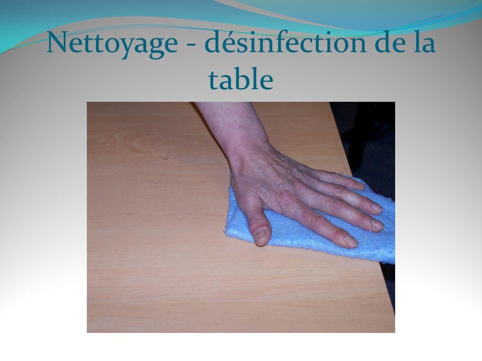 Nettoyage - désinfection de la table