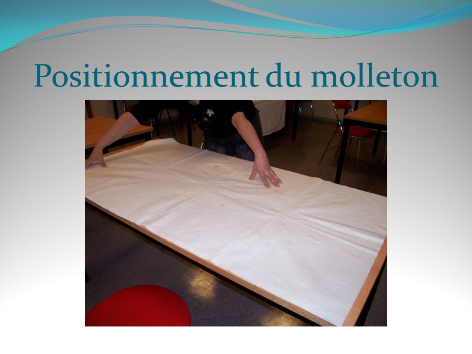 Positionnement du molleton