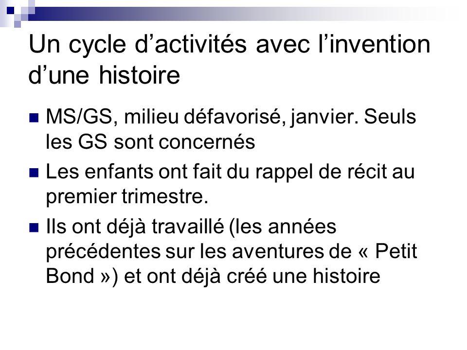 Un cycle d'activités avec l'invention d'une histoire