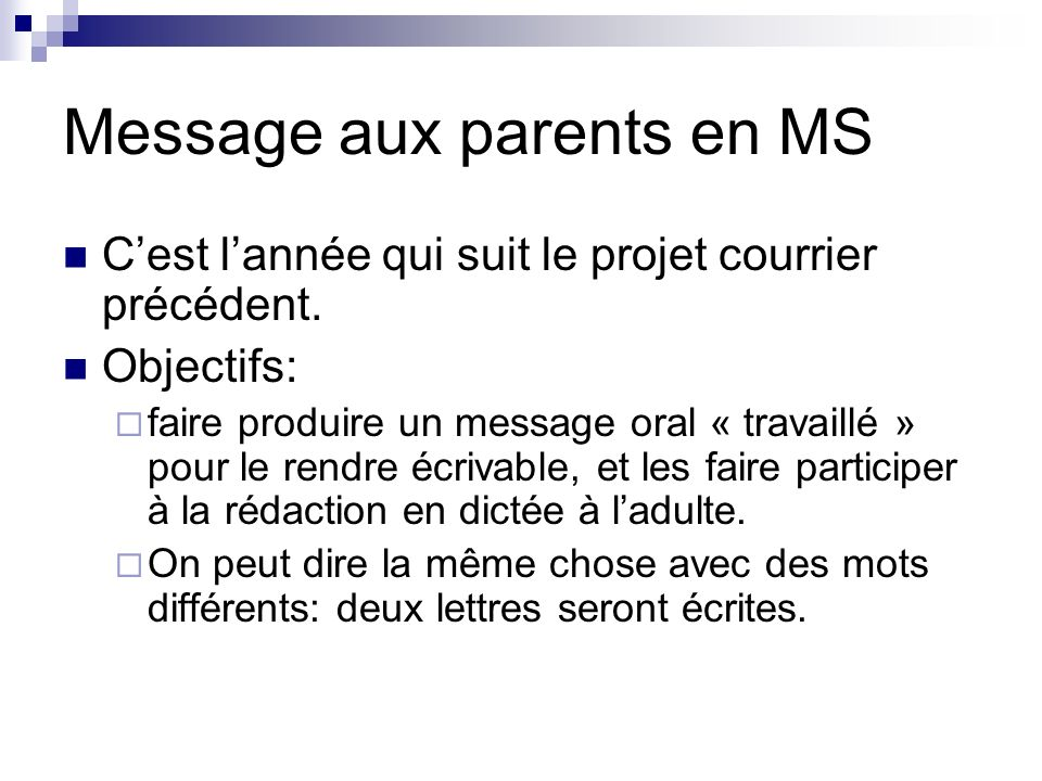 Message aux parents en MS