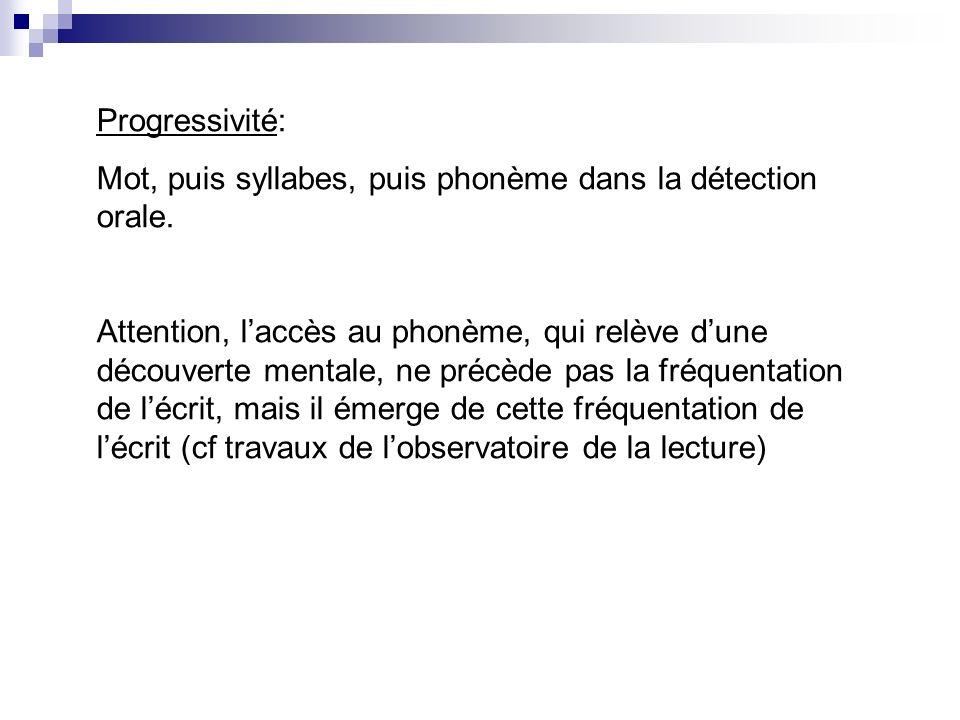 Progressivité: Mot, puis syllabes, puis phonème dans la détection orale.