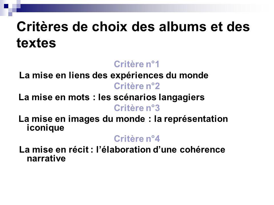 Critères de choix des albums et des textes