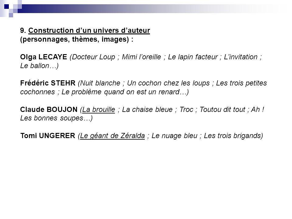 9. Construction d'un univers d'auteur (personnages, thèmes, images) : Olga LECAYE (Docteur Loup ; Mimi l'oreille ; Le lapin facteur ; L'invitation ; Le ballon…)