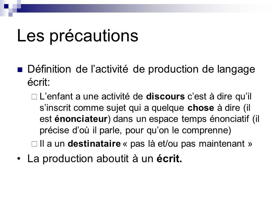 Les précautions Définition de l'activité de production de langage écrit: