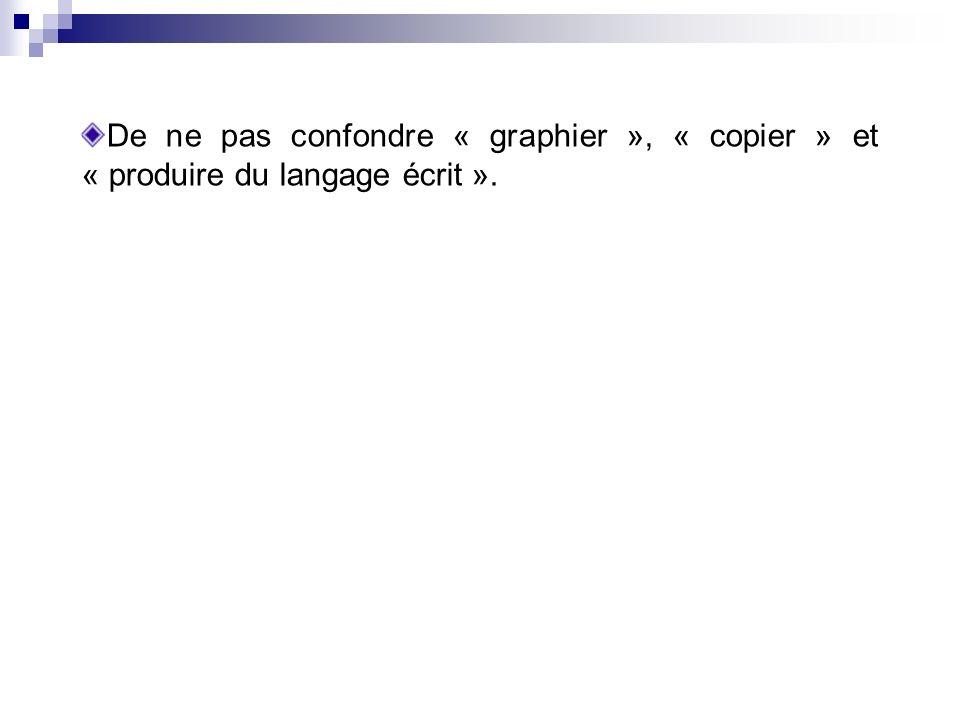 De ne pas confondre « graphier », « copier » et « produire du langage écrit ».