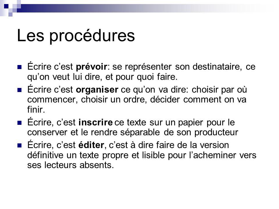 Les procédures Écrire c'est prévoir: se représenter son destinataire, ce qu'on veut lui dire, et pour quoi faire.