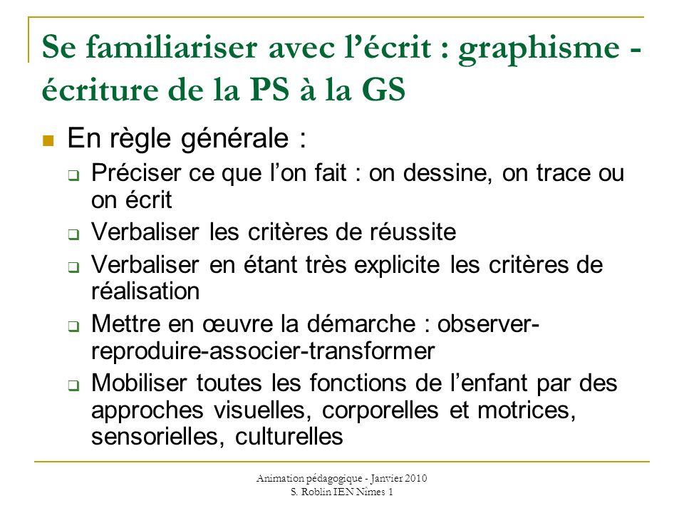 Se familiariser avec l'écrit : graphisme - écriture de la PS à la GS