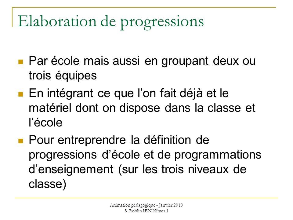 Elaboration de progressions