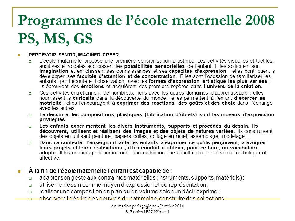 Programmes de l'école maternelle 2008 PS, MS, GS