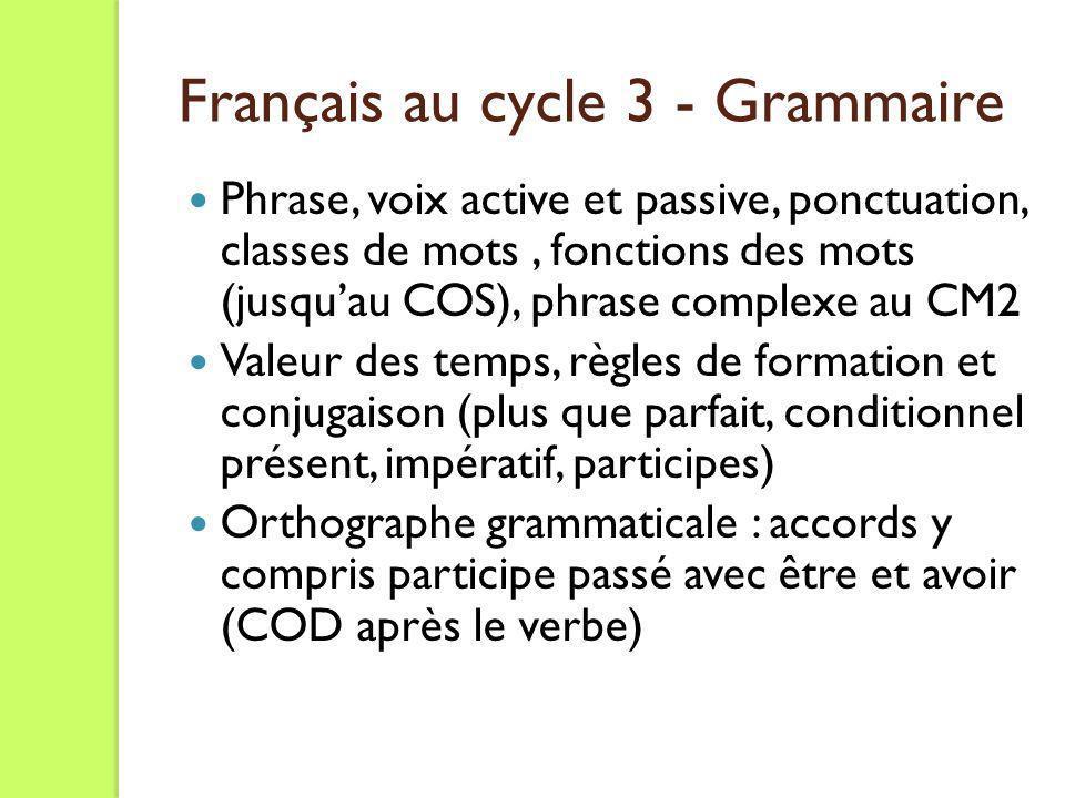 Français au cycle 3 - Grammaire