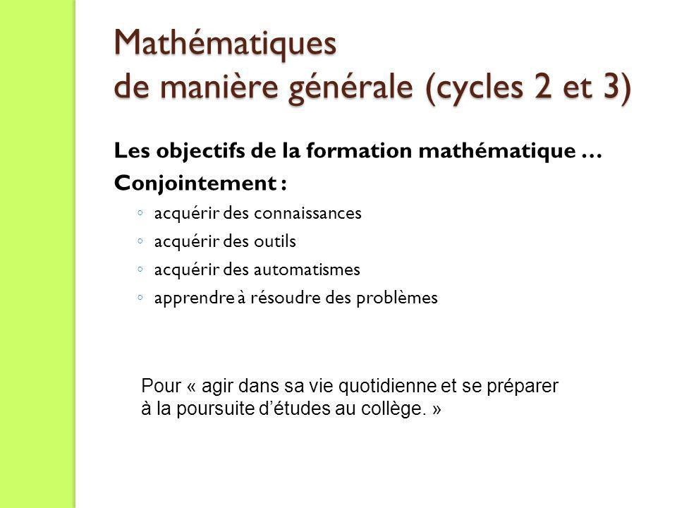 Mathématiques de manière générale (cycles 2 et 3)