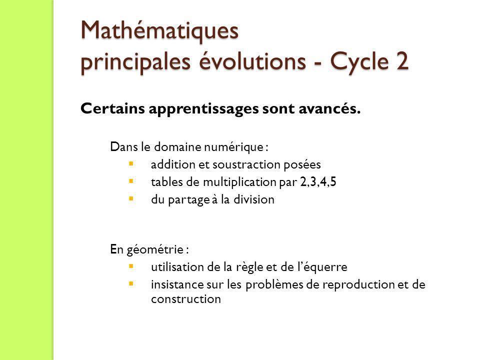 Mathématiques principales évolutions - Cycle 2