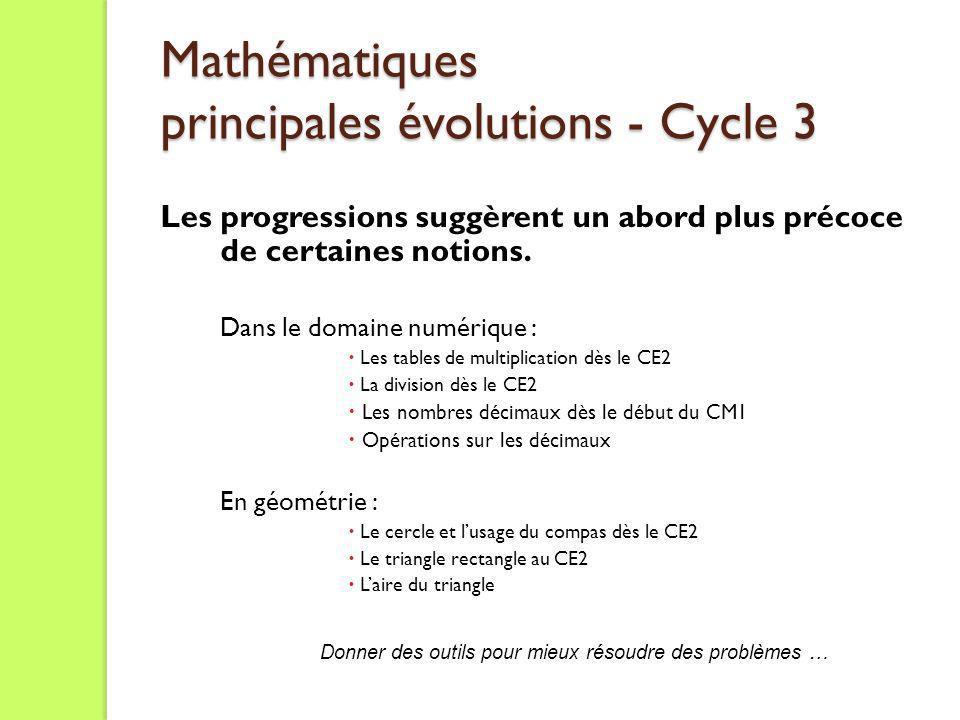 Mathématiques principales évolutions - Cycle 3