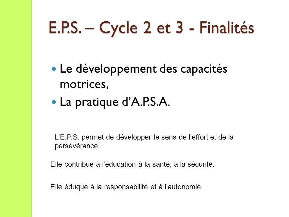 E.P.S. – Cycle 2 et 3 - Finalités