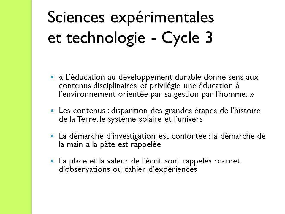 Sciences expérimentales et technologie - Cycle 3