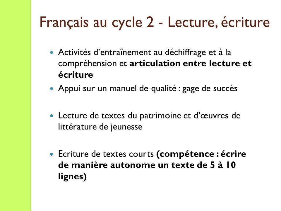 Français au cycle 2 - Lecture, écriture