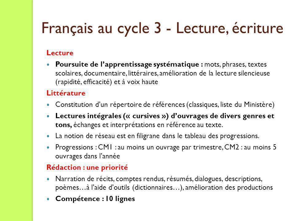 Français au cycle 3 - Lecture, écriture