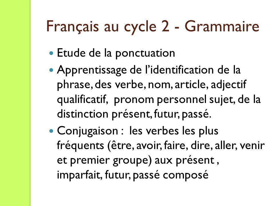 Français au cycle 2 - Grammaire