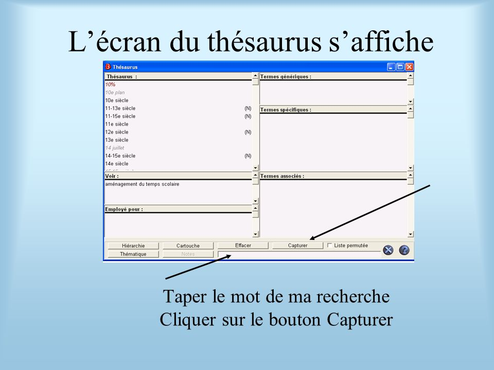 L'écran du thésaurus s'affiche