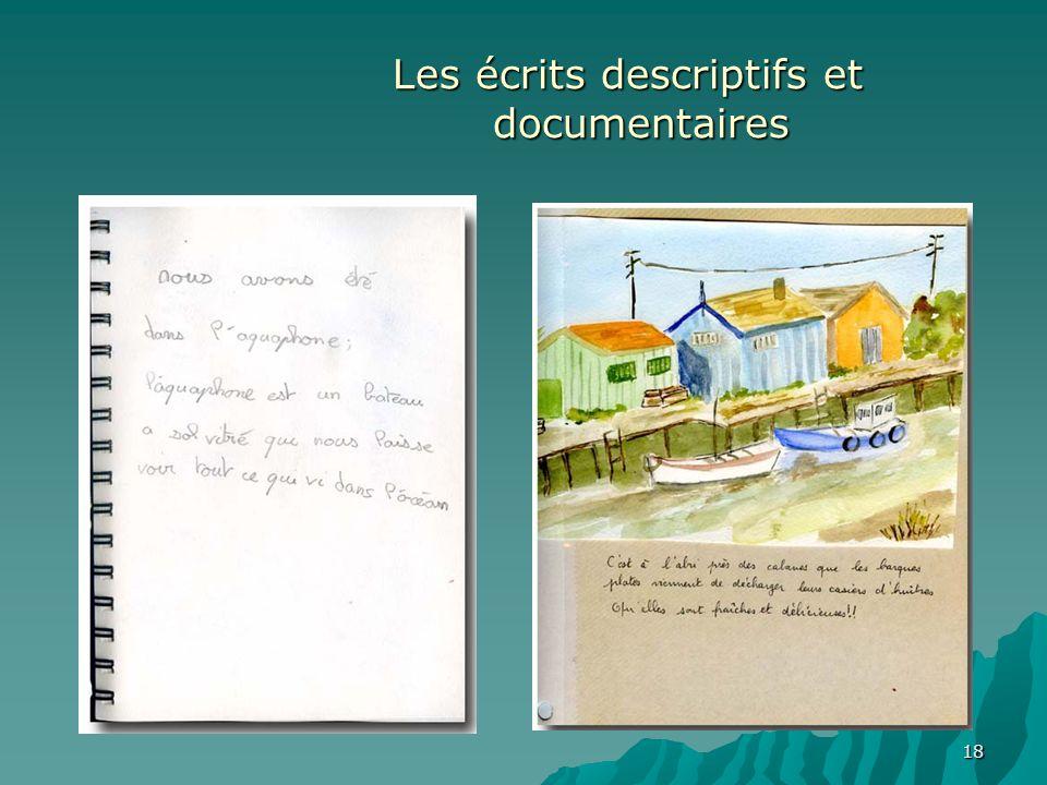 Les écrits descriptifs et documentaires