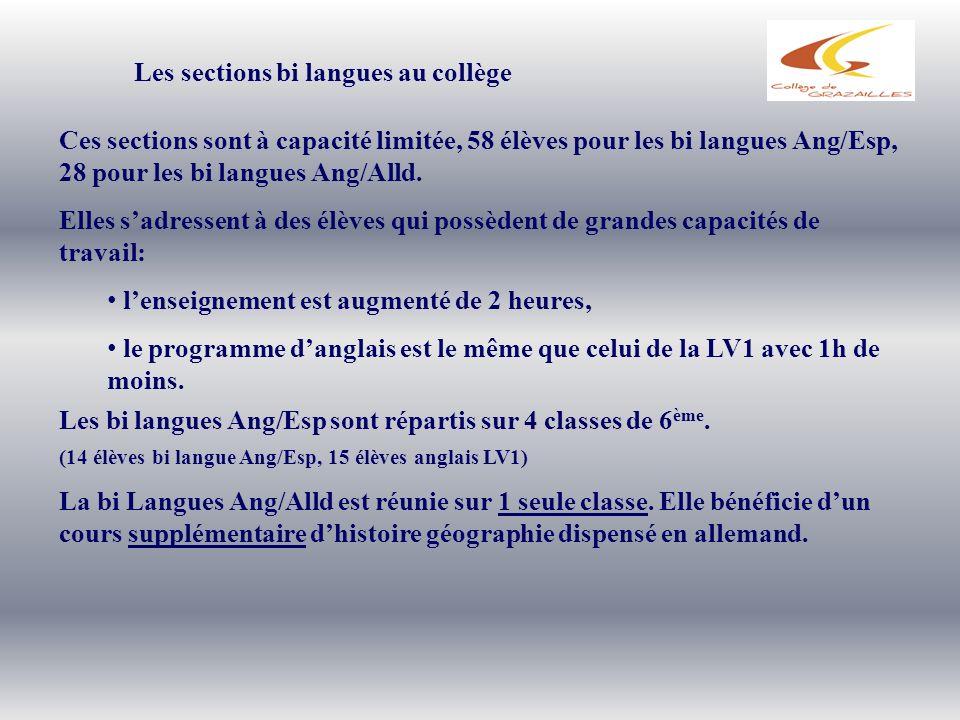 Les sections bi langues au collège