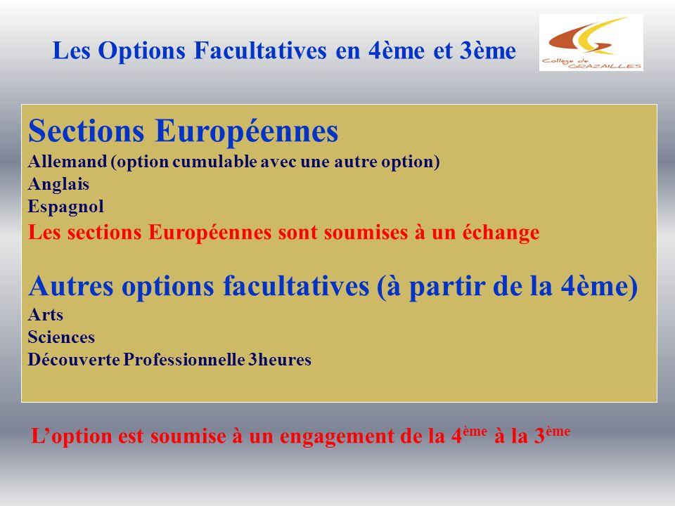 Sections Européennes Autres options facultatives (à partir de la 4ème)