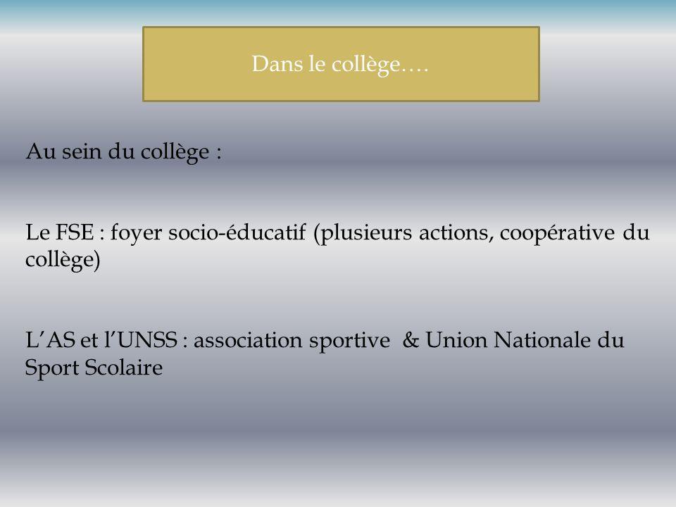 Dans le collège…. Au sein du collège : Le FSE : foyer socio-éducatif (plusieurs actions, coopérative du collège)