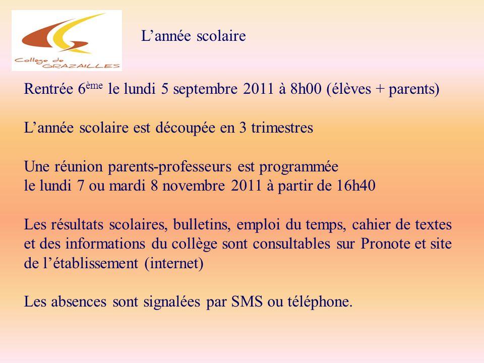 L'année scolaire Rentrée 6ème le lundi 5 septembre 2011 à 8h00 (élèves + parents) L'année scolaire est découpée en 3 trimestres.