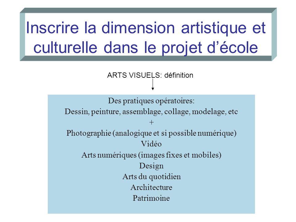 Inscrire la dimension artistique et culturelle dans le projet d'école