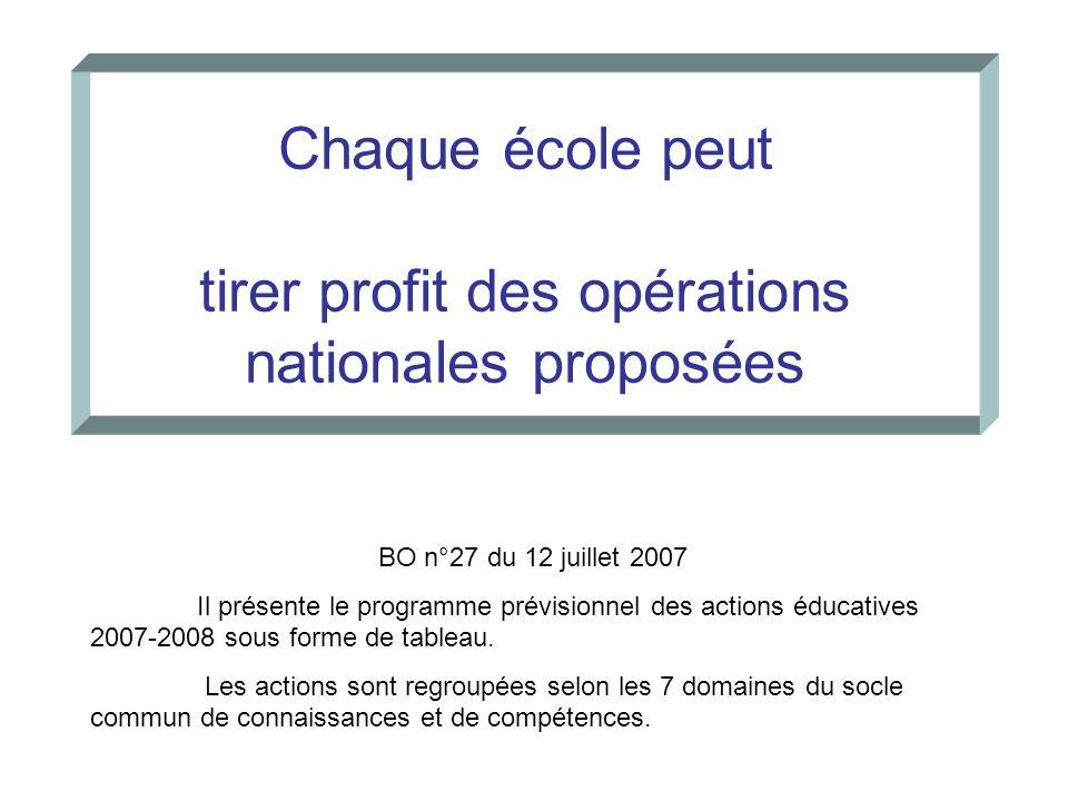 Chaque école peut tirer profit des opérations nationales proposées
