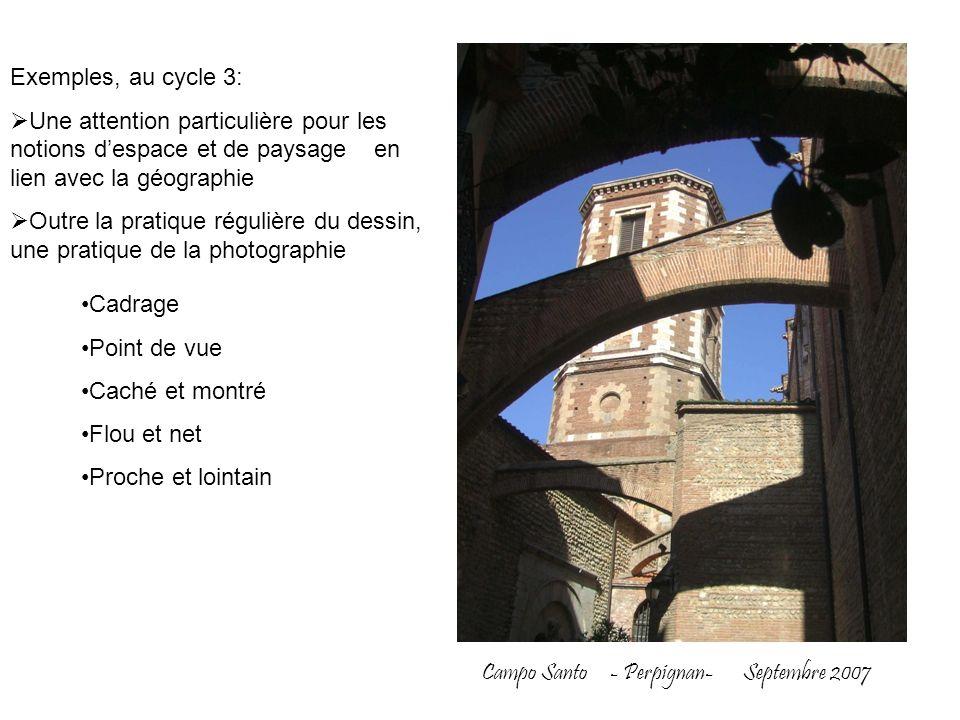 Exemples, au cycle 3: Une attention particulière pour les notions d'espace et de paysage en lien avec la géographie.