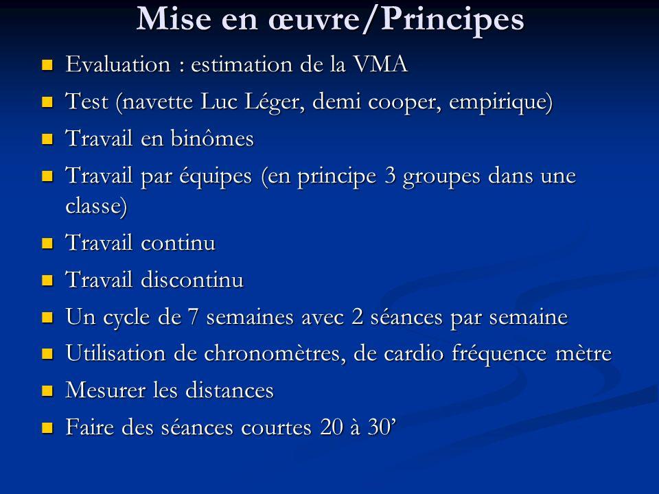 Mise en œuvre/Principes