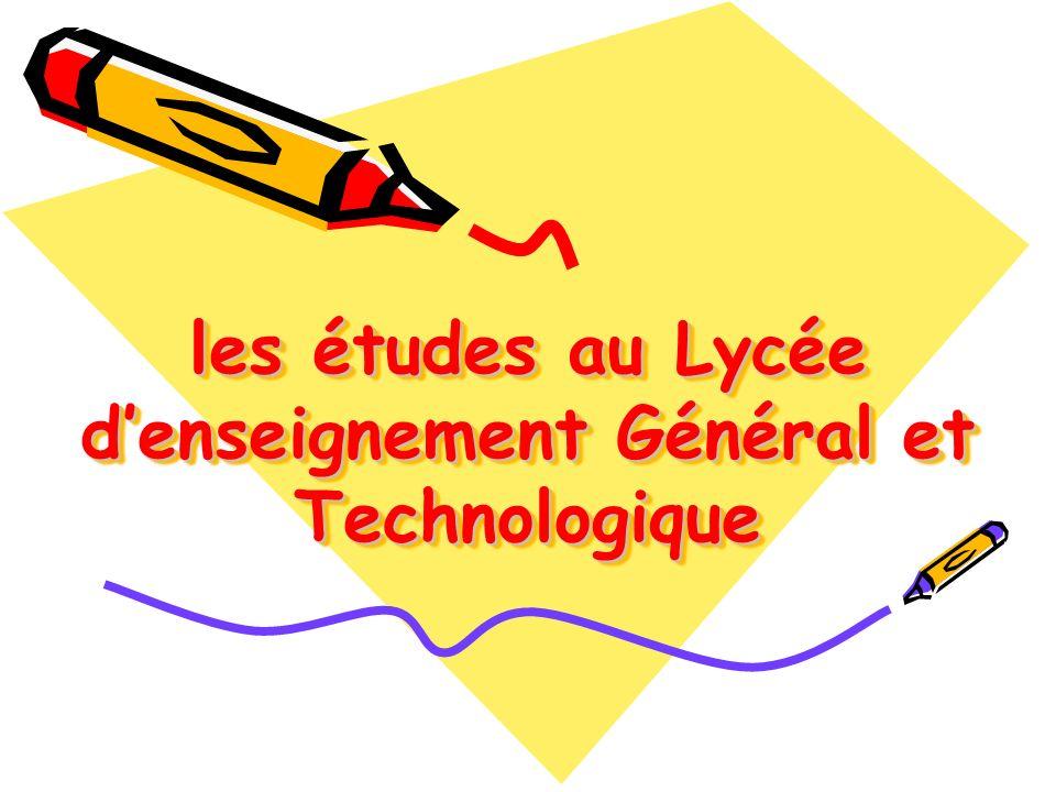 les études au Lycée d'enseignement Général et Technologique