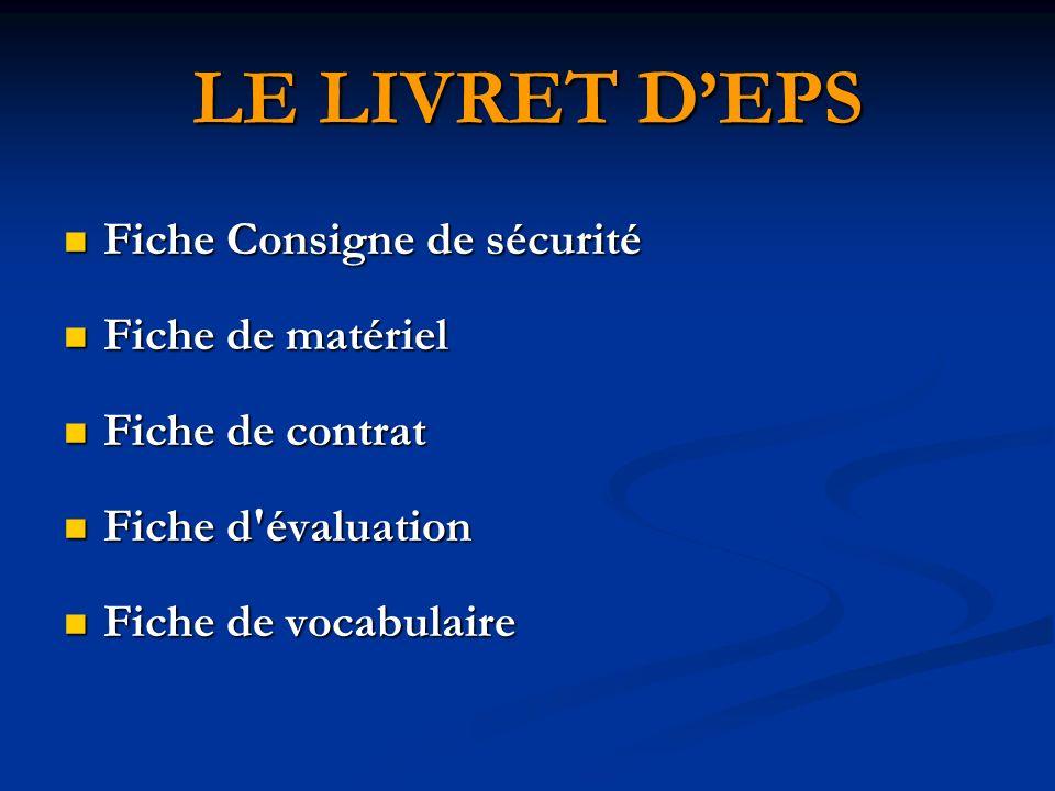 LE LIVRET D'EPS Fiche Consigne de sécurité Fiche de matériel
