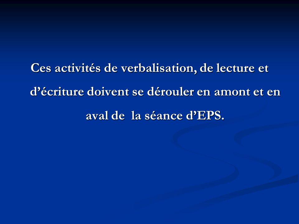 Ces activités de verbalisation, de lecture et d'écriture doivent se dérouler en amont et en aval de la séance d'EPS.