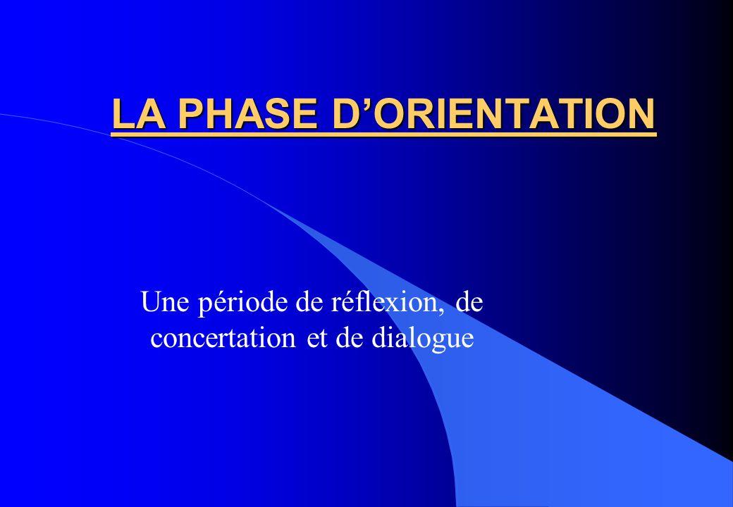 LA PHASE D'ORIENTATION
