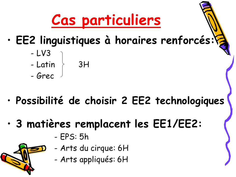 Cas particuliers EE2 linguistiques à horaires renforcés: