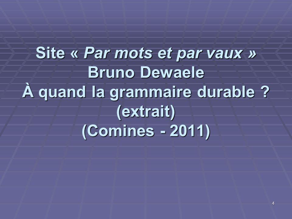 Site « Par mots et par vaux » Bruno Dewaele À quand la grammaire durable .