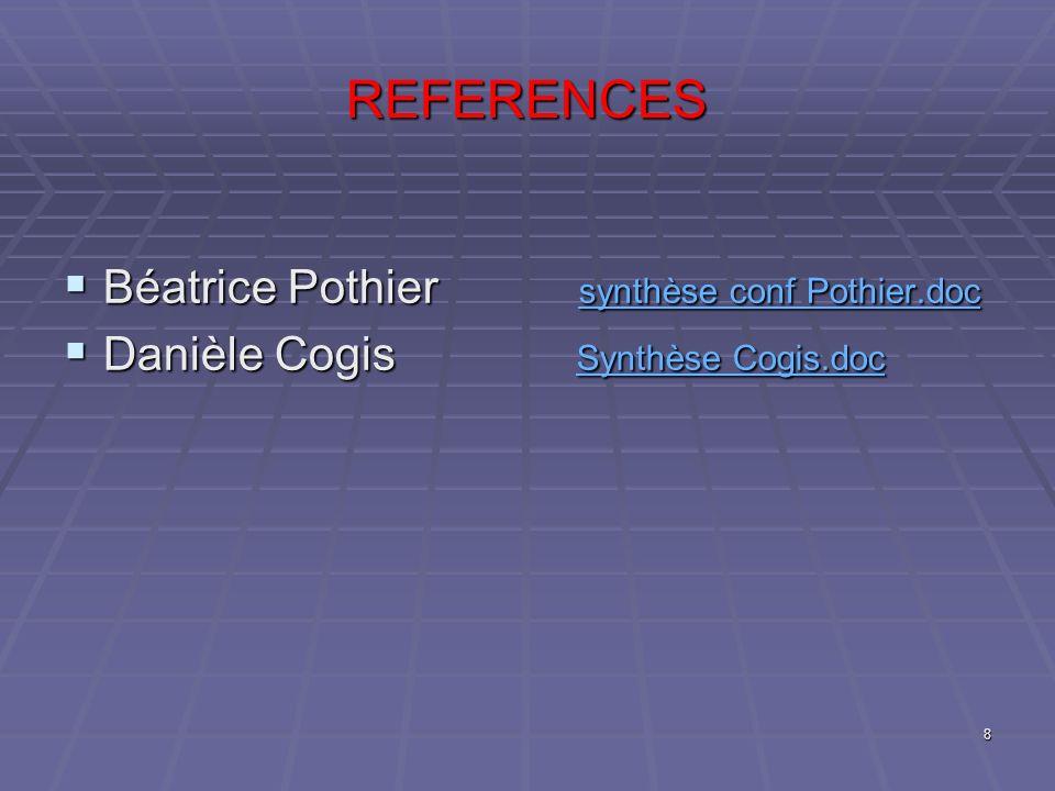 REFERENCES Béatrice Pothier synthèse conf Pothier.doc