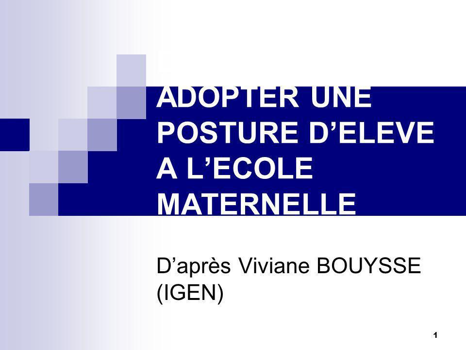 DEVENIR ELEVE ADOPTER UNE POSTURE D'ELEVE A L'ECOLE MATERNELLE