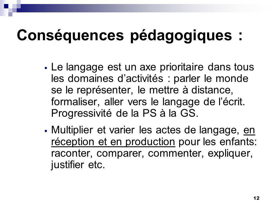 Conséquences pédagogiques :